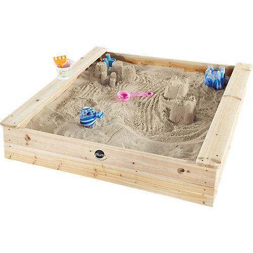 plum Kinder quadratischer Holz Sandkasten mit Sitzbänken
