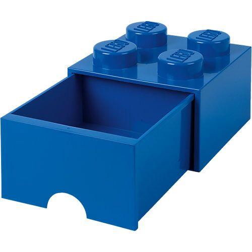 LEGO Aufbewahrungsbox 4er blau mit Schublade, 25 x 25 x 18 cm
