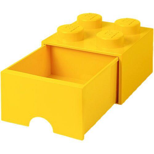 LEGO Aufbewahrungsbox 4er gelb mit Schublade, 25 x 25 x 18 cm