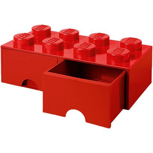 LEGO Aufbewahrungsbox 8er rot mit Schublade, 50 x 25 x 18 cm