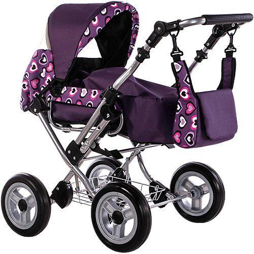 Zekiwa Puppenwagen Kombipuppenwagen Zeki de Luxe Herzen Violett