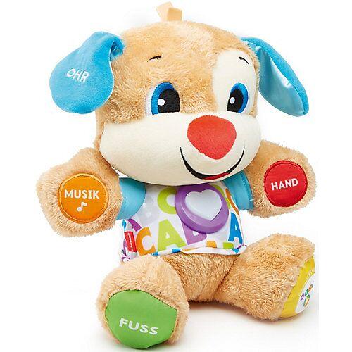 Mattel Fisher-Price Lernspaß Hündchen, Baby-Spielzeug mit Musik, Kuscheltier, Lernspielzeug blau