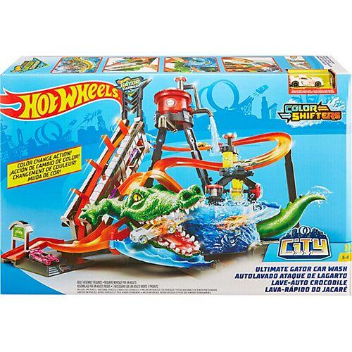 Mattel Hot Wheels Ultimative Autowaschanlage mit Alligator inkl. 1 Farbwechsel-Spielzeugauto