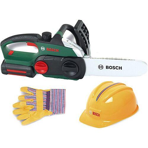 Klein Bosch Kettensäge mit Helm und Handschuhen