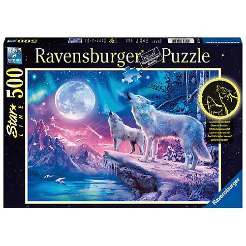 Ravensburger Puzzle 500 Teile, 49x36 cm, Star Line, mit Leuchtfarbe, Wolf im Nordlicht
