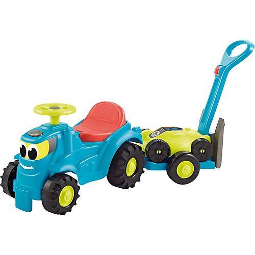 écoiffier Kindertraktor mit Anhänger und Rasenmäher blau/gelb
