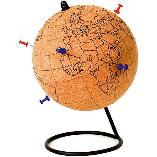 Kork Globus zum Bemalen mit Pin-Nadeln & Buntstiften braun