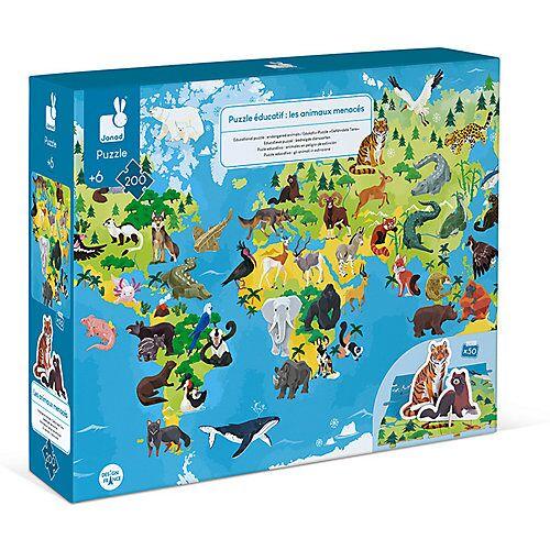 Janod Edukativ-Puzzle Gefährdete Tiere mit Figuren, 200 Teile