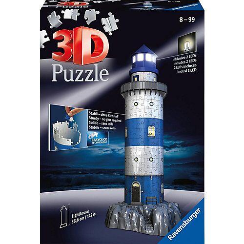 Ravensburger 3D-Puzzle Night mit LED, H39 cm, 216 Teile, Leuchtturm bei Nacht