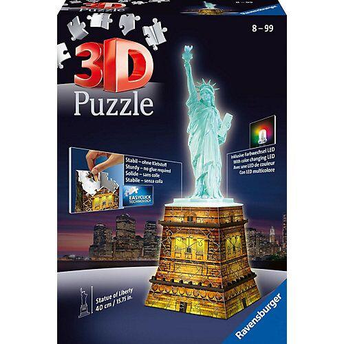 Ravensburger 3D-Puzzle Night mit LED, H40 cm, 108 Teile, Freiheitsstatue mit Licht
