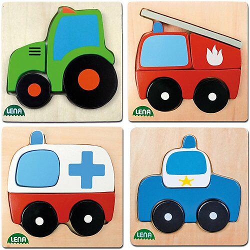 LENA® Holz-Steckpuzzle Fahrzeuge, 4er-Set