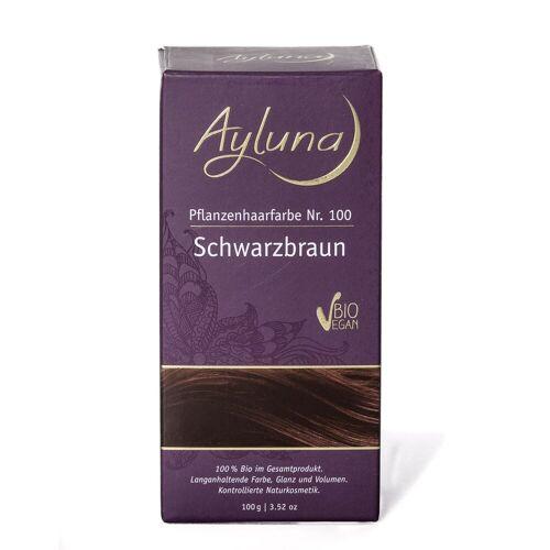 Ayluna Naturkosmetik Haarfarbe - Nr.100 Schwarzbraun 100g Damen