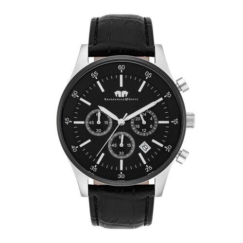 Rhodenwald & Söhne Armband-Uhr Goodwill silber/schwarz Echtleder schwarz