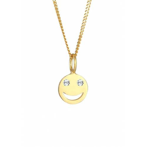 Elli Elli Halskette Smiley Face Emoji  Kristalle 925 Silber Damen