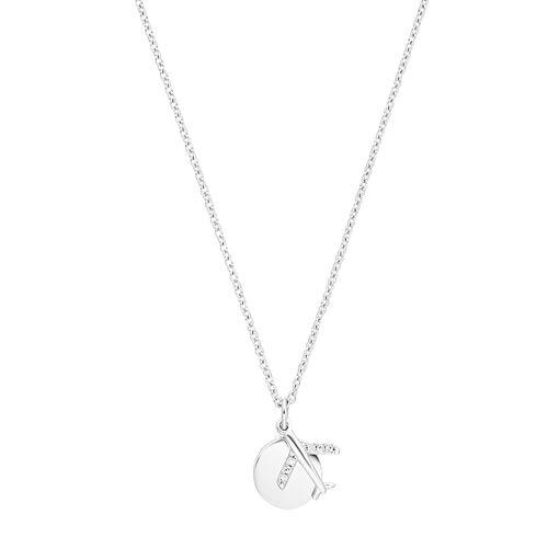 s.Oliver s.Oliver Halskette für Damen, Sterling Silber 925, Zirkonia Flugzeug Damen