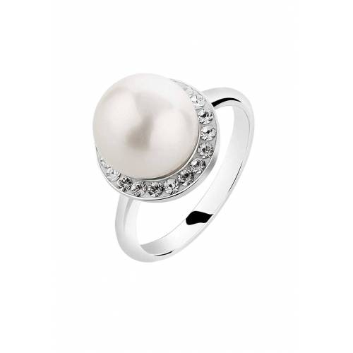 Nenalina Nenalina Ring Muschelkern-Perle Kristalle 925 Silber Damen