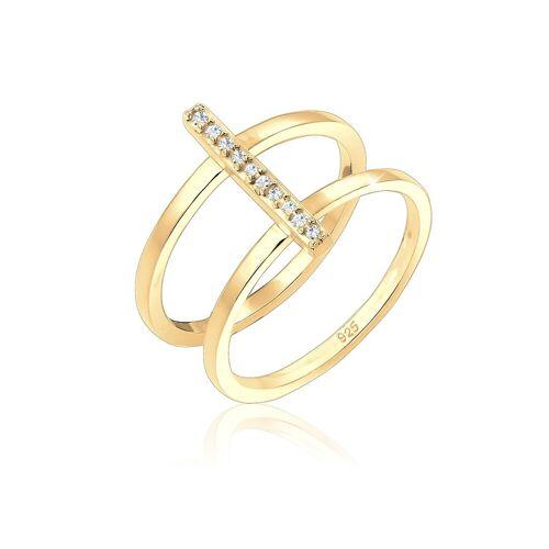Elli Elli Ring Doppelring Geo Kristalle 925er Silber Damen
