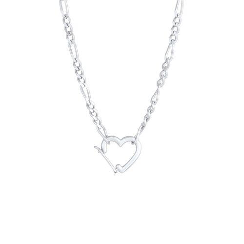 Elli Elli Halskette Figaro Herz Verschluss Verstellbar 925 Silber Damen