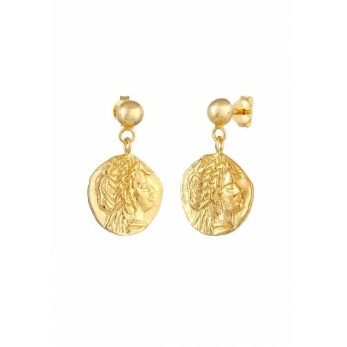 Elli Elli Ohrringe Stecker Coin Münze Antikes Design 925 Silber Damen