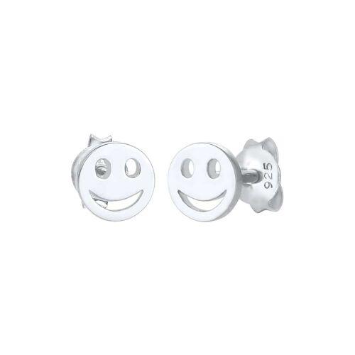 Elli Elli Ohrringe Kinder Smiley Plättchen Basic Trend 925 Silber