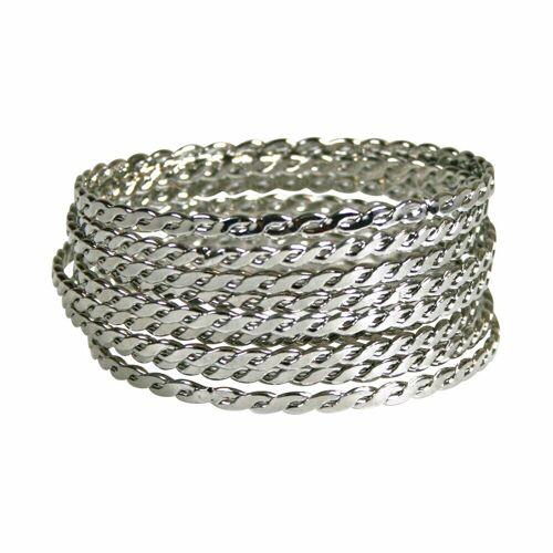 Wicked Sista Wicked Sista WS Bracelet Plaited Bangle Set - (9) Reifen, Silber - Armreifen