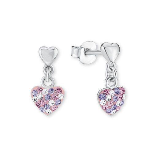 Prinzessin Lillifee Prinzessin Lillifee Ohrring für Mädchen, Herz 925 Silber rhodiniert Kristall rosa lila