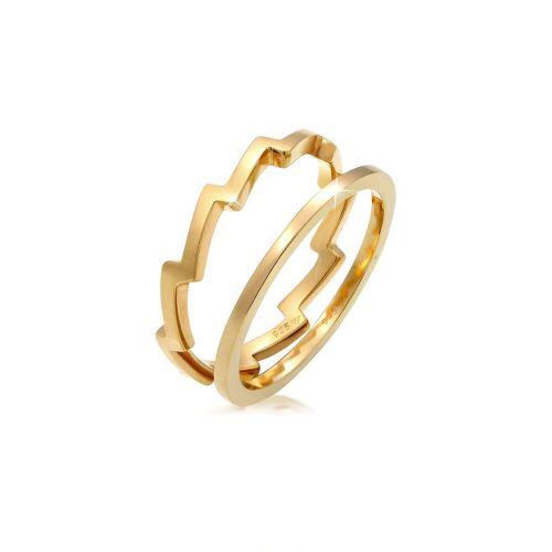 Elli Elli Ring Basic Bandring Zick Zack 2er Set 925 Silber