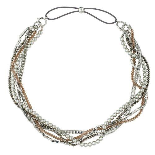 Pippa&Jean Halskette  Messing Glaskristalle Glasperlen silber