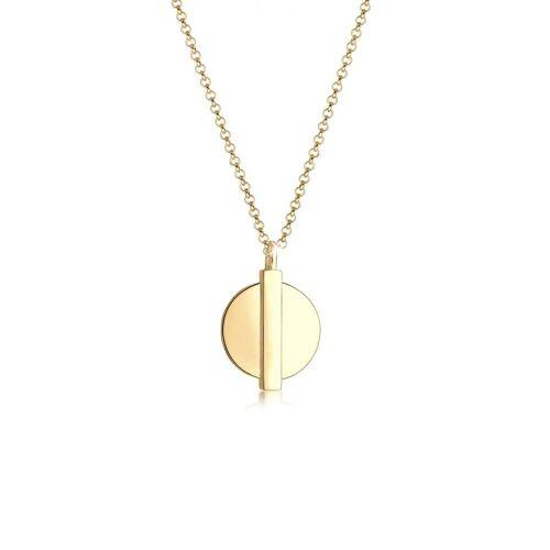 Elli Elli Halskette Basic Plättchen Anhänger Geo Look 925 Silber