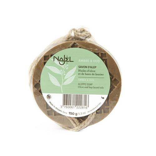 Najel Aleppo-Seife - Amber & Oud an Kordel 150g
