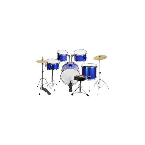 Steinbach Kinderschlagzeug 16 Zoll 12-teilig blau Altersempf. ca. 5 - 10 Jahre SJDS-500-10 BL blaues Kinderschlagzeug Schlagzeug Junior Kinder Drum Drumset Juniorschlagzeug 16 Zoll