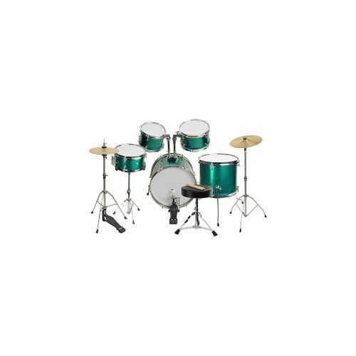 Steinbach Kinderschlagzeug 16 Zoll 12-teilig grün Altersempf. ca. 5 - 10 Jahre SJDS-500-10 GR grünes Kinderschlagzeug Schlagzeug Junior Kinder Drum Drumset Juniorschlagzeug