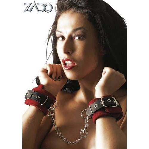 Leder Handfesseln rot/schwarz
