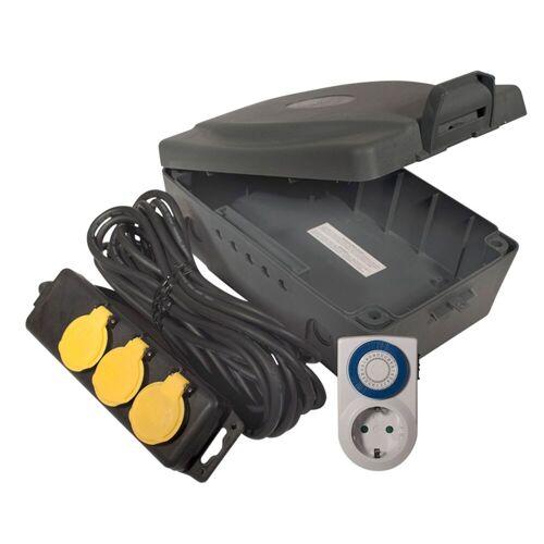 lightmaXX - Kabelbox + Zeitschaltuhr 3er-Steckdose f. Außenbereich