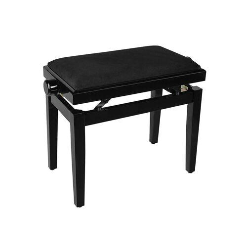Fame - PB-10  PE Klavierbank Boston schwarz hochglanz, Samt-Bezug