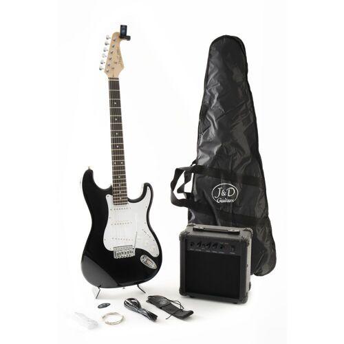 J & D - E-Gitarre ST Pack BK Black
