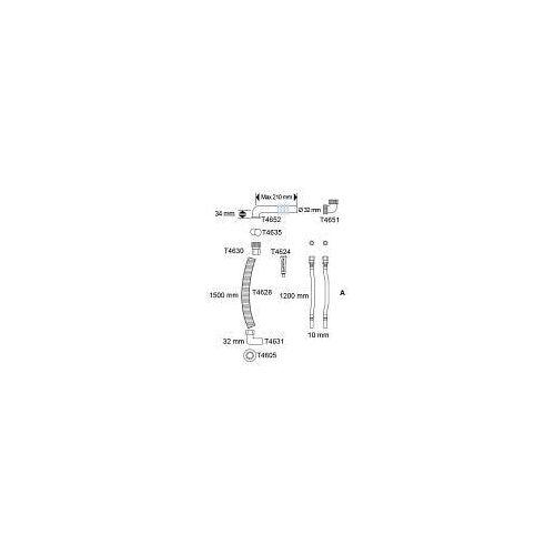 Pressalit Care Flexibles Zu- und Ablaufsystem 120/150 cm Care   R2064