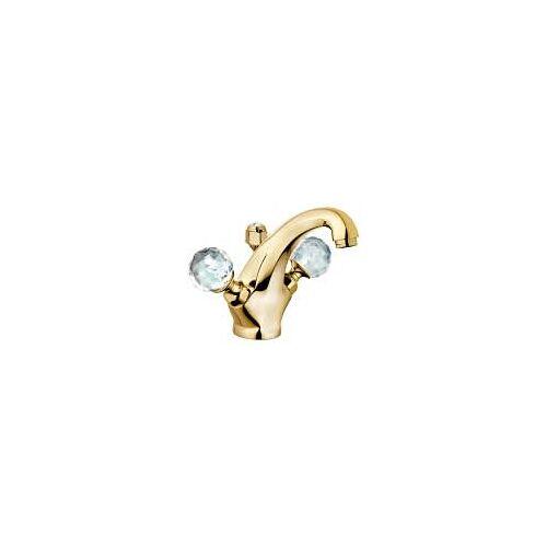Kludi Adlon Waschtischarmatur mit Kristallgriffe  mit Ablaufgarnitur vergoldet 23 kt 5101045G4