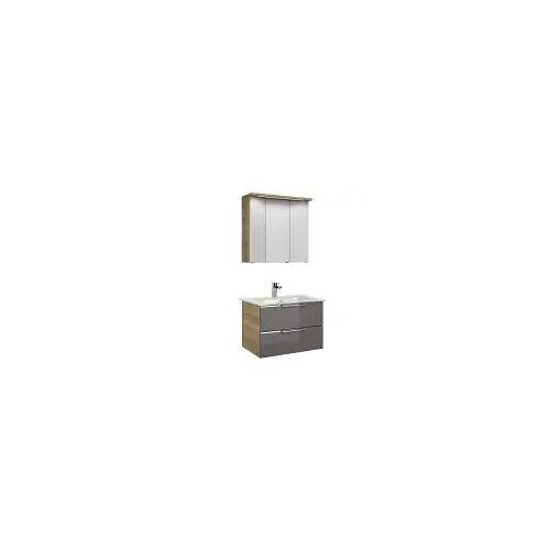Pelipal Trentino Möbelkombination mit Glaswaschtisch 77 cm, SPS 3D Trentino  grau (glas) 12_770_3_2_1_47