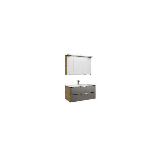 Pelipal Trentino Möbelkombination mit Glaswaschtisch 107 cm, SPS mit T5 Leuchte Trentino  grau (glas) 12_1070_3_2_5_47