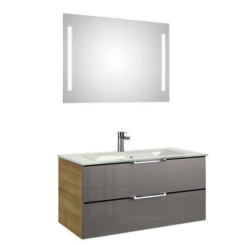 Pelipal Trentino Möbelkombination mit Glaswaschtisch 107 cm, LED Spiegel Trentino  grau (glas) 12_1070_3_2_20_47
