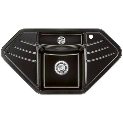 Systemceram Keradomo Vega Eck Einbauspüle mit Handbetätigung, inkl. Armaturbohrung  B: 103,7 T: 57 H: 20 cm nero 503401-68
