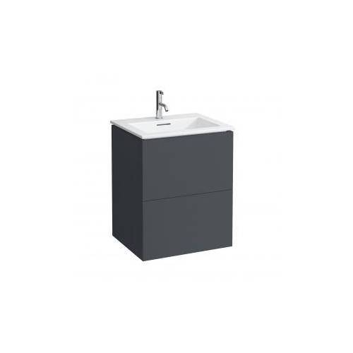 Kartell by Laufen Waschtisch mit Waschtischunterschrank B: 60 H: 72,5 T: 50 cm , 2 Auszügen Front schiefer / Korpus schiefer H8603336421041
