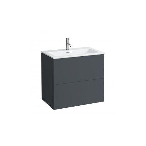 Kartell by Laufen Waschtisch mit Waschtischunterschrank B: 80 H: 72,5 T: 50 cm , 2 Auszügen Front schiefer / Korpus schiefer H8603356421041