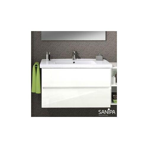 Sanipa Solo One Harmonia Waschtisch mit Waschtischunterschrank B: 80 H: 61,1 T: 47 cm, 2 Auszüge Front weiß glanz / Korpus weiß glanz PS03178