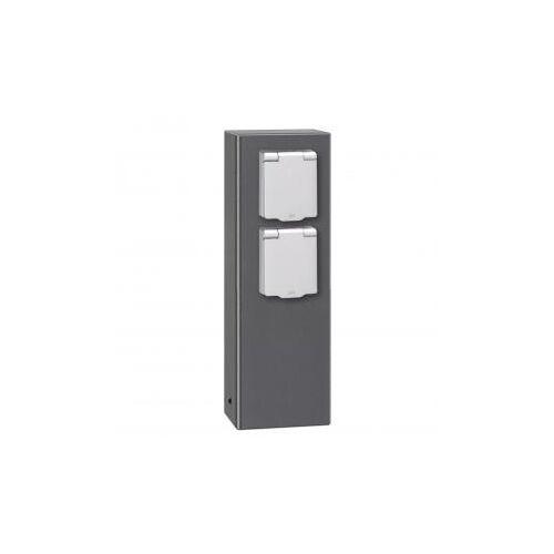 LCD 018 Steckdosensäule 2 Steckdosen B: 9,5 H: 26 T: 5 cm, edelstahl 018