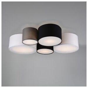 TRIO Leuchten Trio Hotel Deckenleuchte, groß B: 90 H: 21,5 T: 70 cm, weiß/grau/schwarz 693900517, EEK: A++