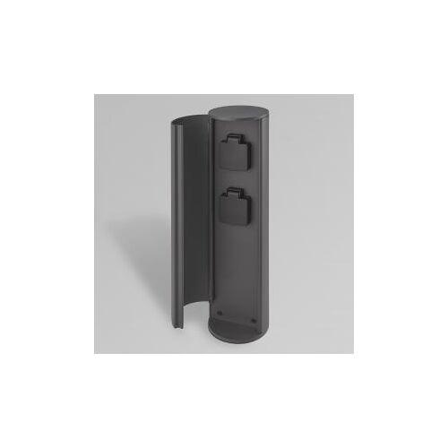 CMD 9016 Steckdosensäule mit 2 Steckdosen Ø 10 H: 40 cm, anthrazit 9016