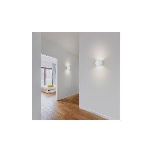 Helestra PONT LED Wandleuchte aus Gips Ø 15,5 H: 11,5 T: 6 cm, weiß 18/1947.07, EEK: A+