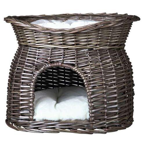 Trixie Weidenkorb mit Liegedach und Kissen - Grau